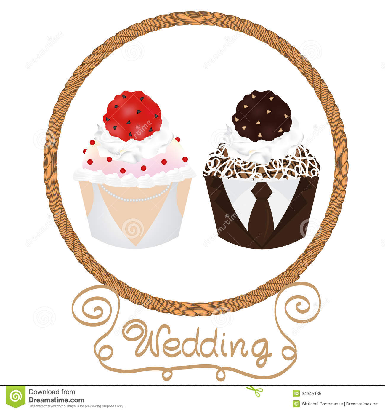 Wedding Celebration Clipart Wedding cupcakes bride and