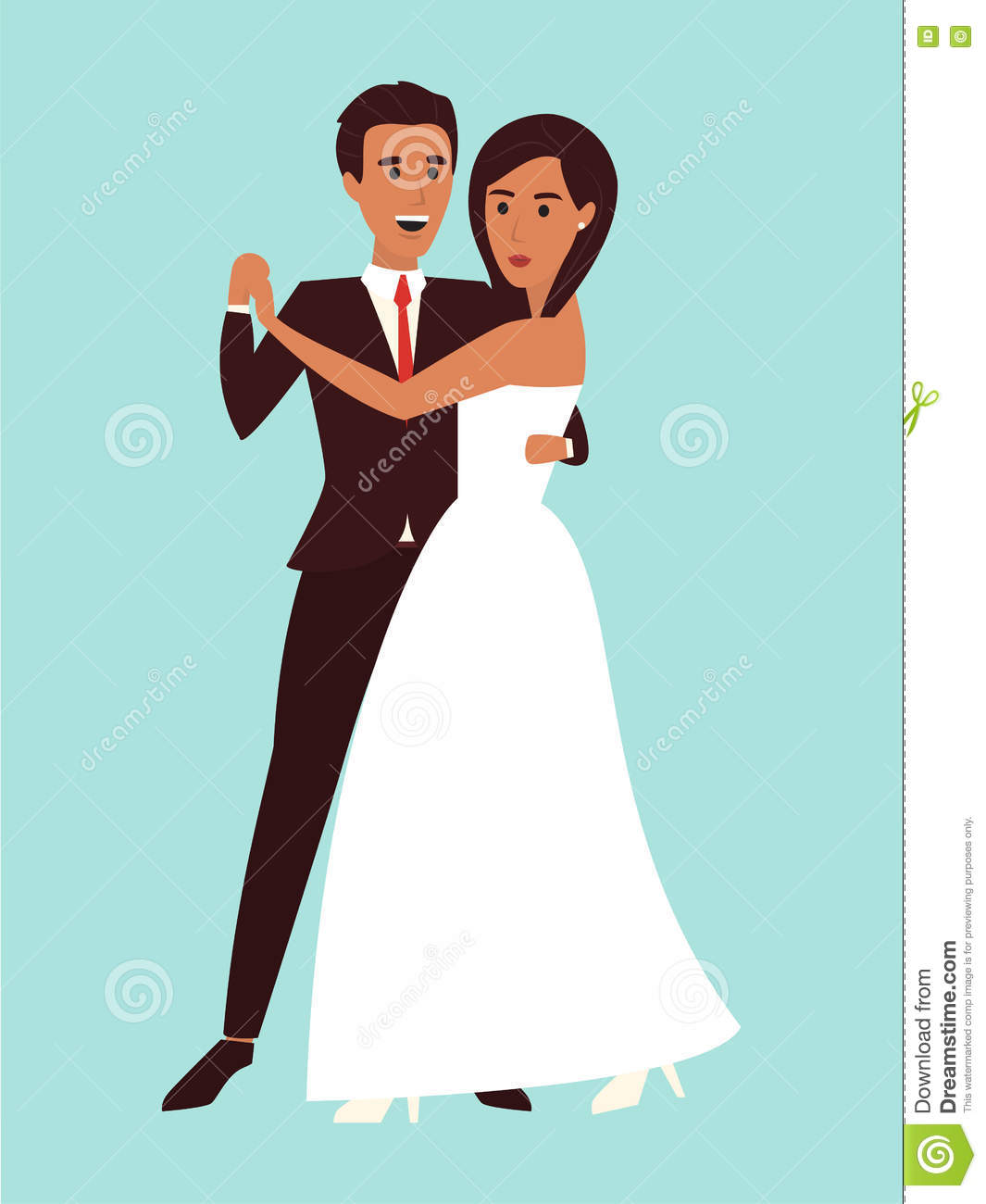 Wedding Dance. Marriage Invitation. Flat Design Vector Illustration ...