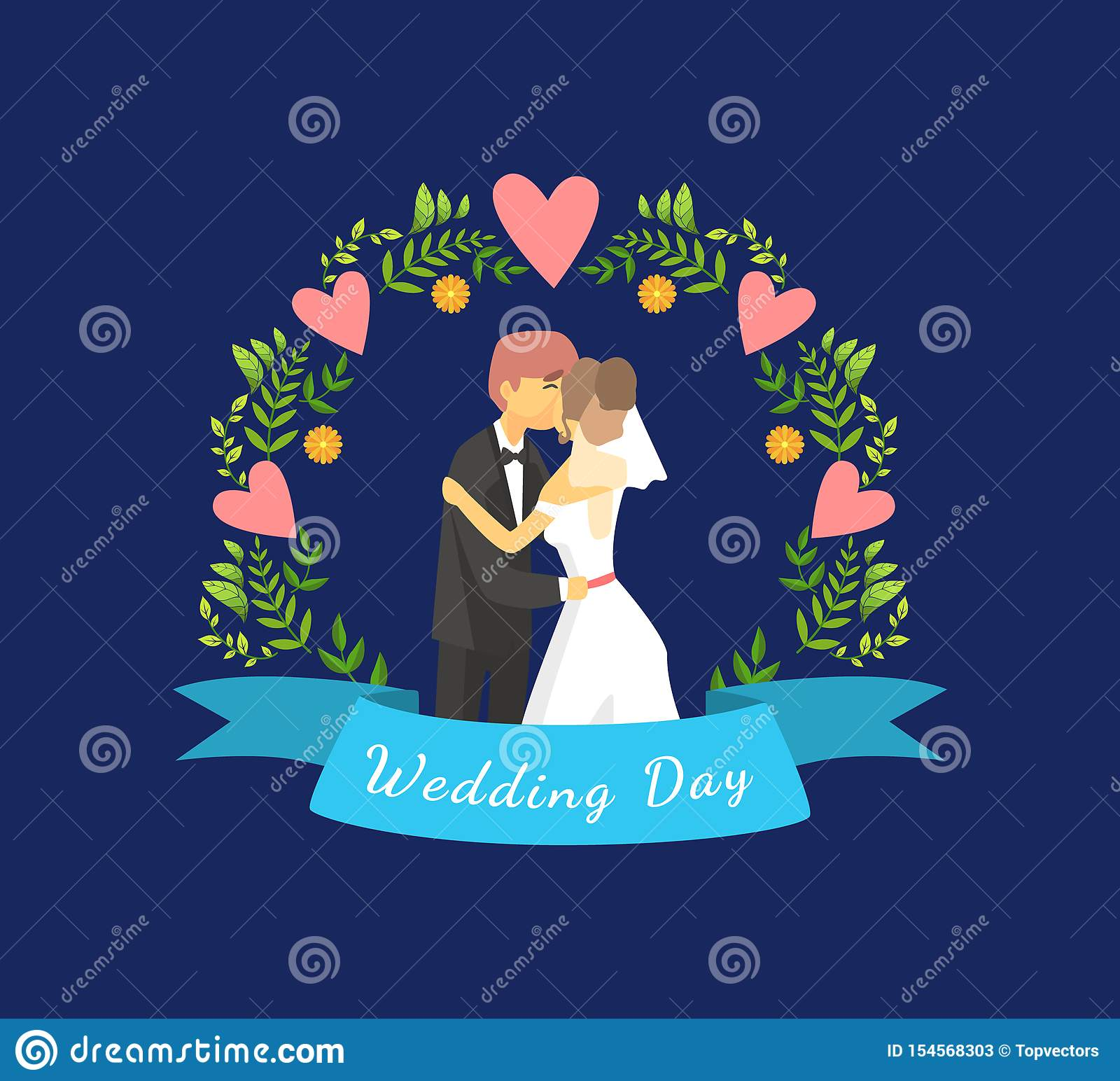 Wedding Day Banner Template With Just Married Couple