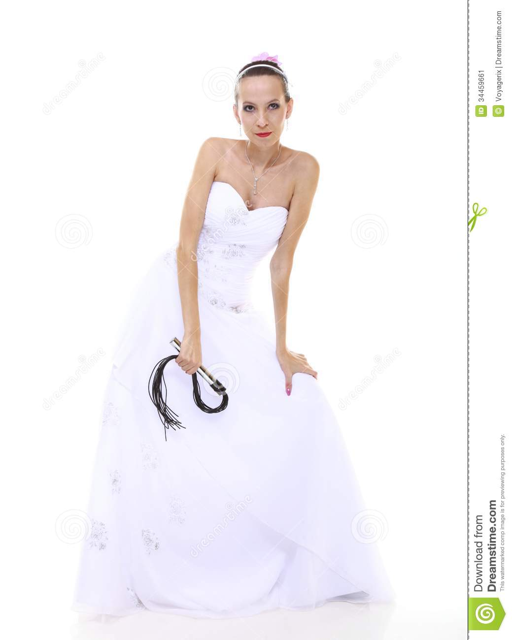 Wedding Day Bride With Black Flogging Whip Isolated Stock