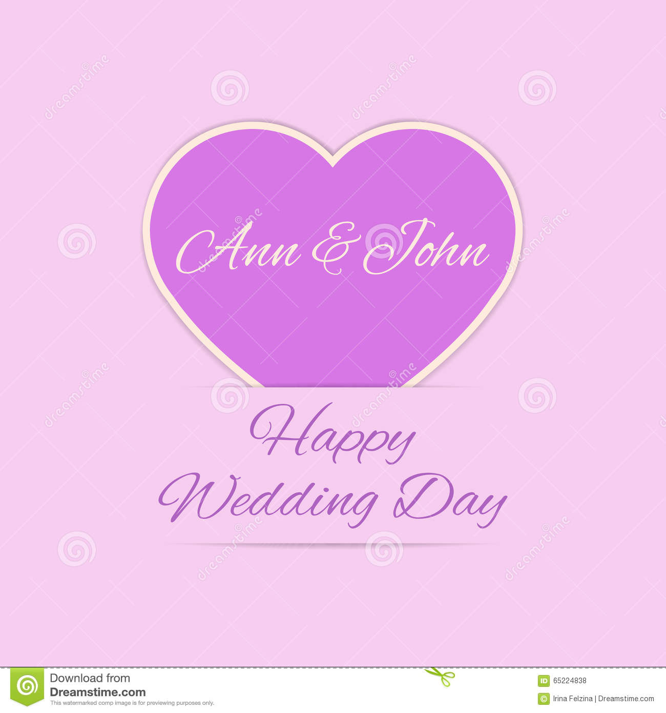 Wedding Day Images With Name: Wedding Day Card With Purple Heart Stock Vector