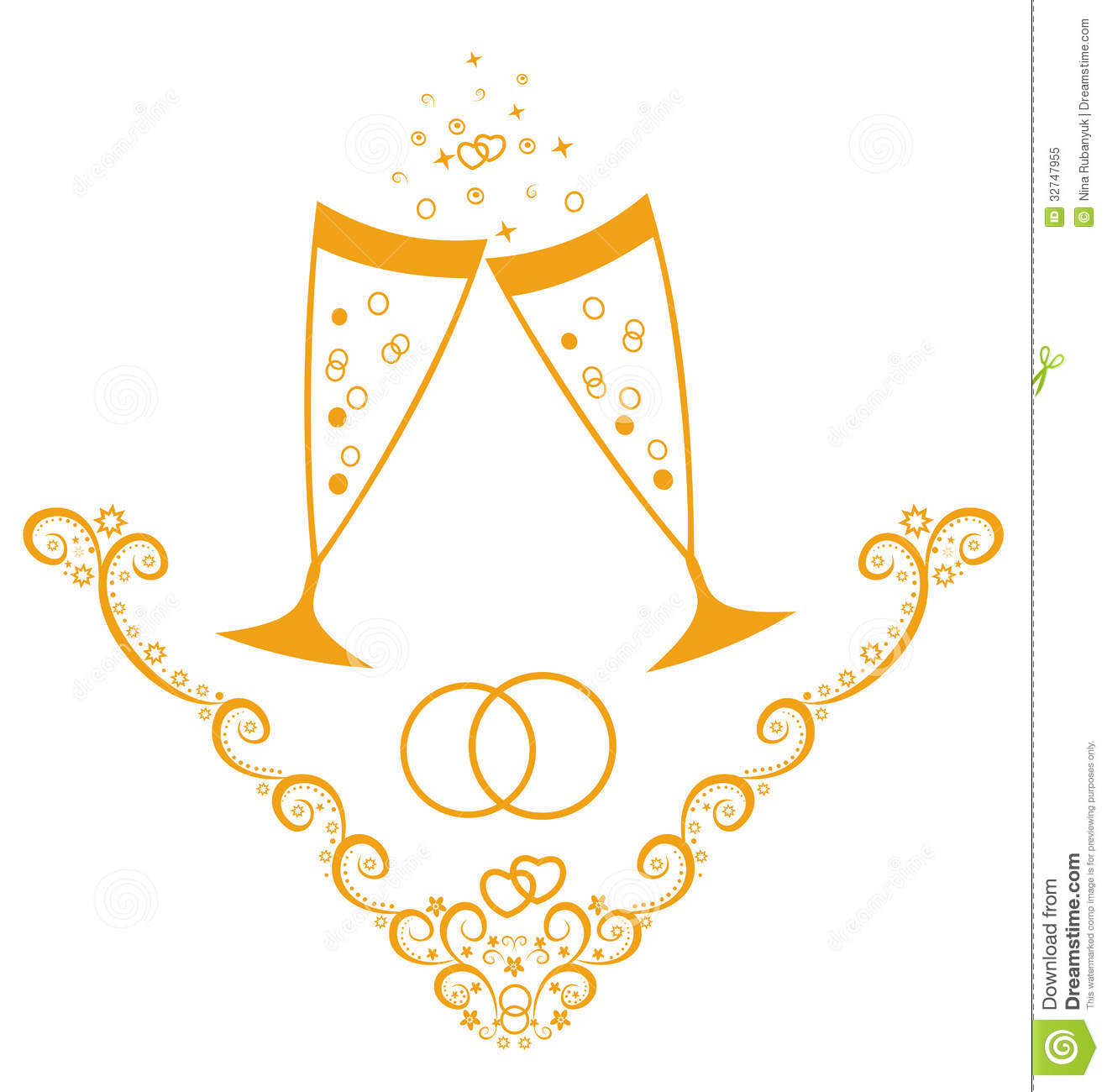 Wedding Day Celebration With Champagne Royalty Free Stock
