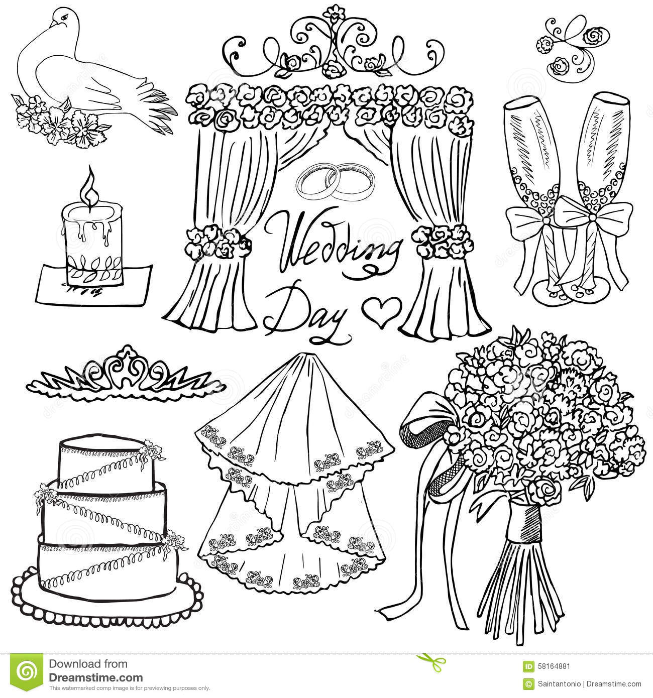 Stock Illustration Wedding Day Elements Hand Drawn Set Flowers Candle Glasses Ch aign Festive Attributes Drawing Doodle Collection Image58164881 on vintage romance illustrations