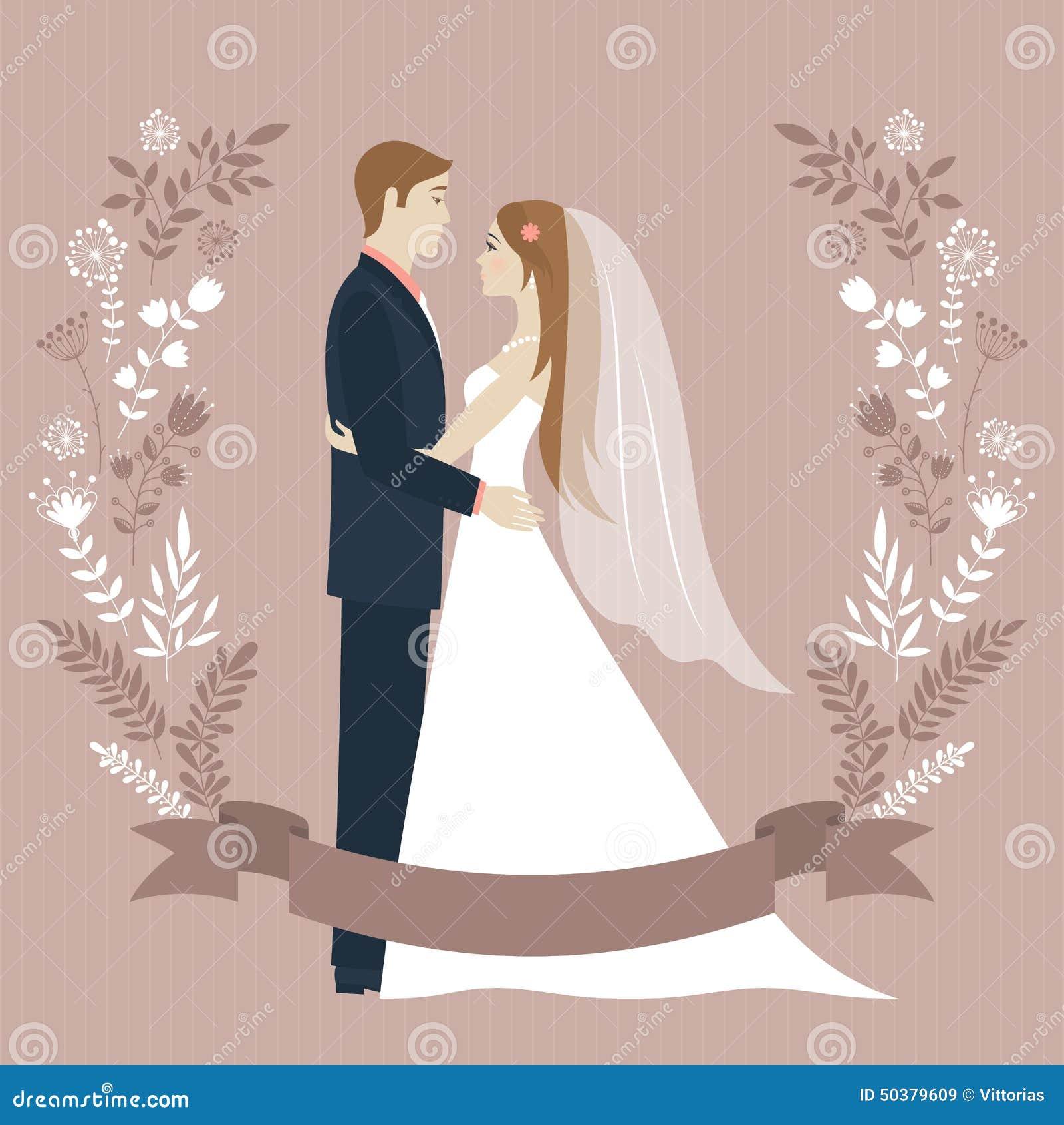 Vintage bride illustration