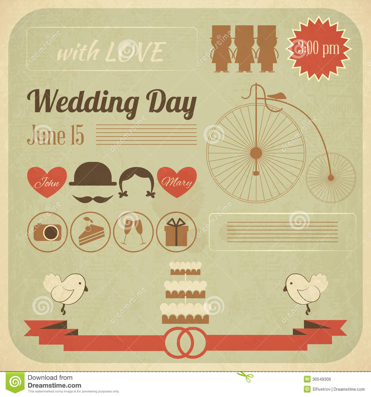 Wedding Day Invitation Infographics Card Stock Vector