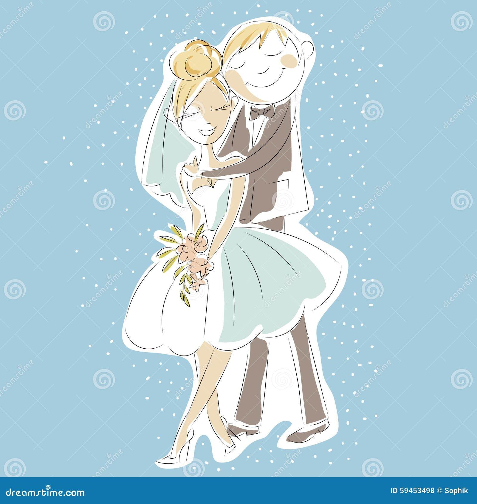 Wedding Day Invitation With Sweet Couple, Cartoon Bride