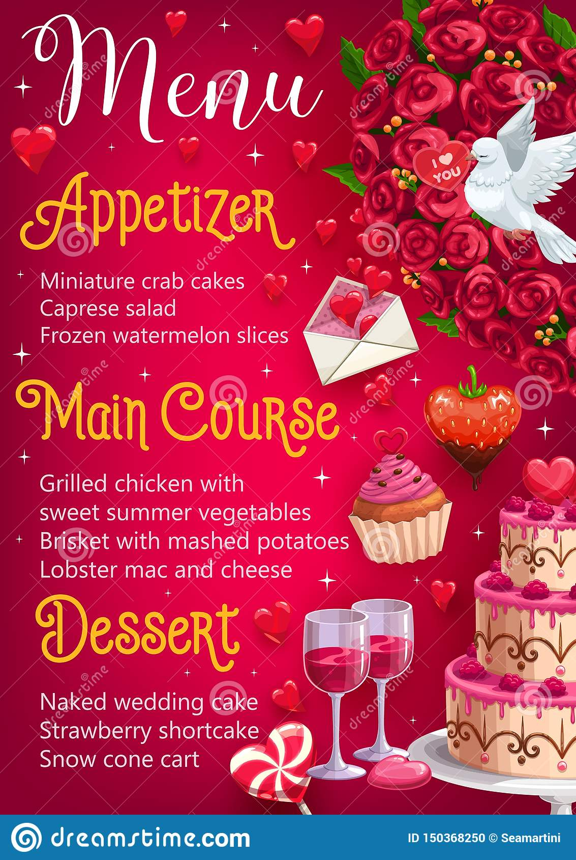 Wedding Day Menu Main Courses Desserts Appetizer Stock Vector