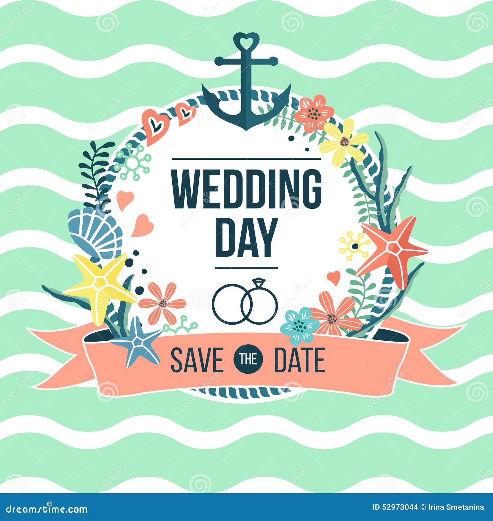 Wedding Day Nautical Invitation Stock Vector