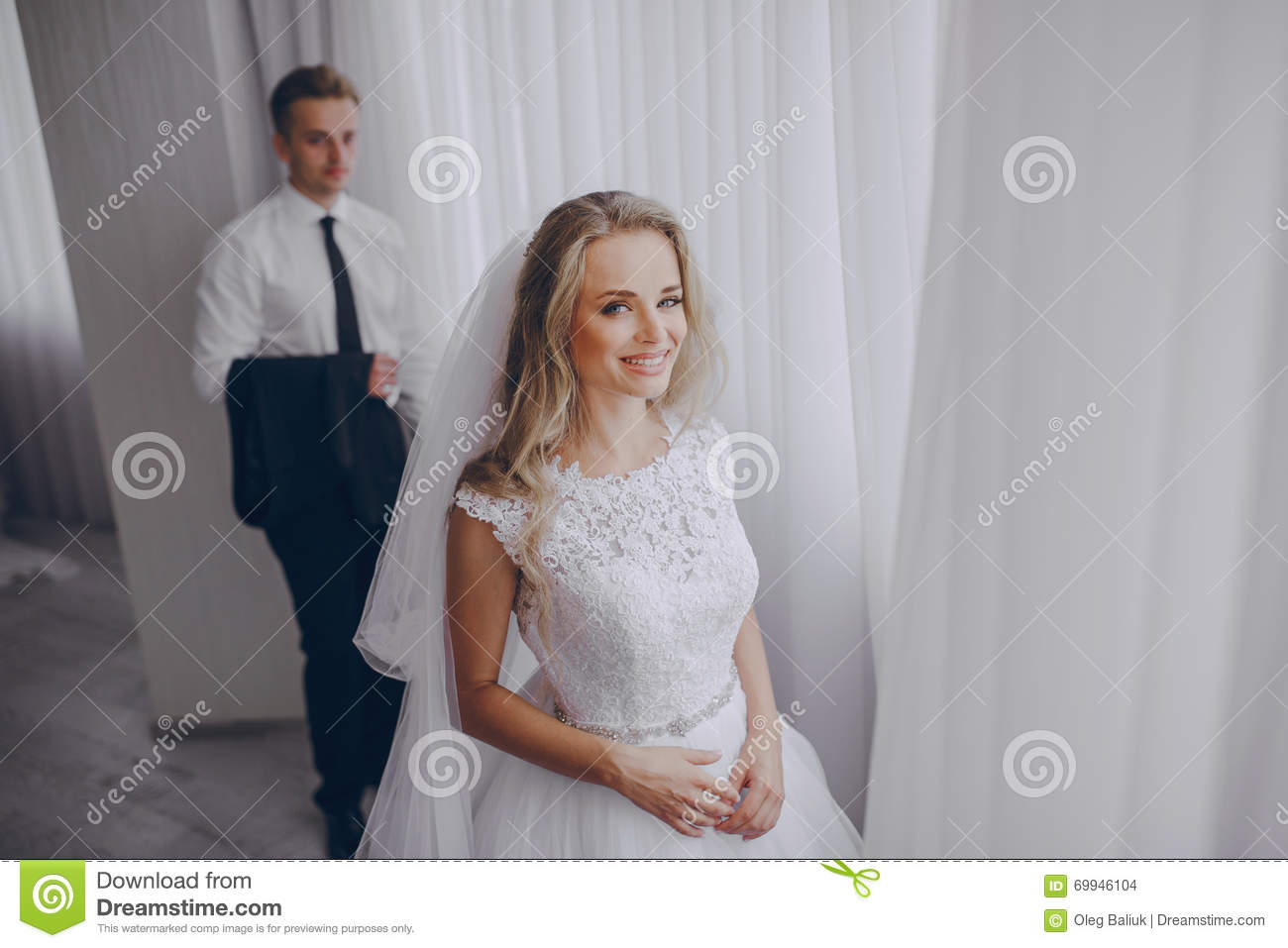 Are not young beautiful bride preparing interesting