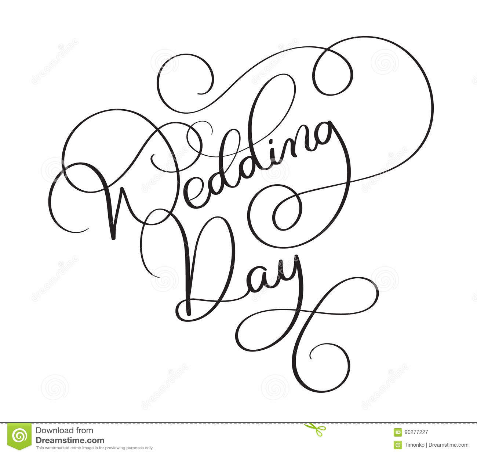 Wedding Day Text On White Background. Hand Drawn Vintage