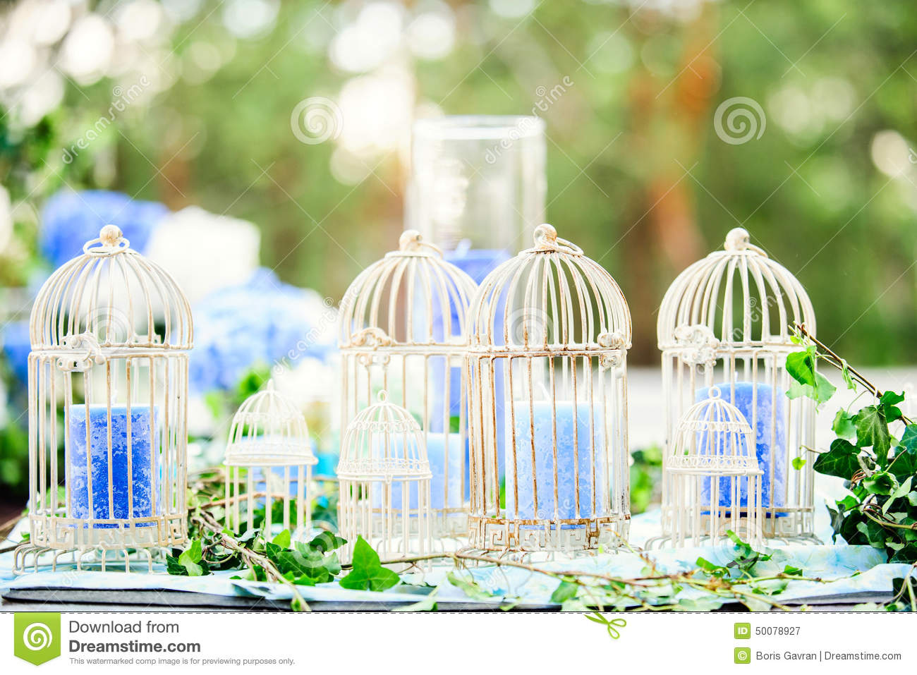 Wedding decor with birdcages and candles stock image image of wedding decor with birdcages and candles junglespirit Images