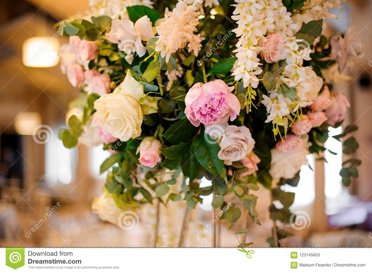 Wedding Decor Bouquet Of Pink Peonies And Roses Stock Image Image