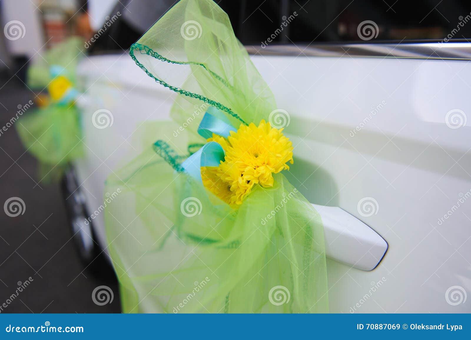 Wedding Decor On The Car Handle Stock Image Image Of Marriage