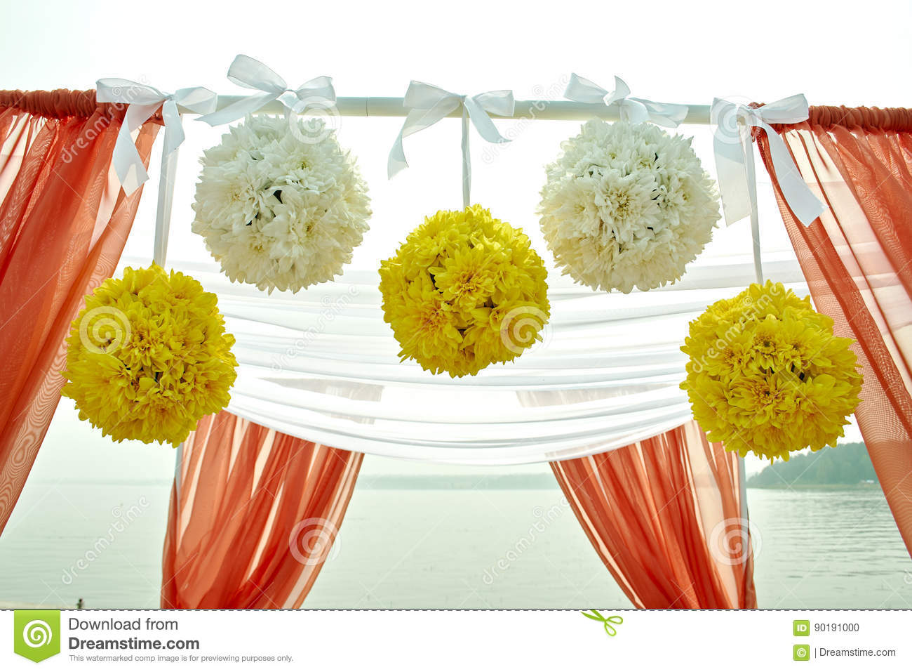 Wedding Decor Flowers In Coral Style Stock Photo - Image of holiday ...