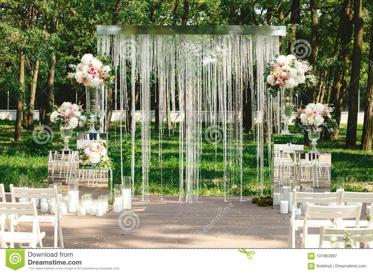 Wedding Decor Flowers Crystal Arch Candles Stock Image Image