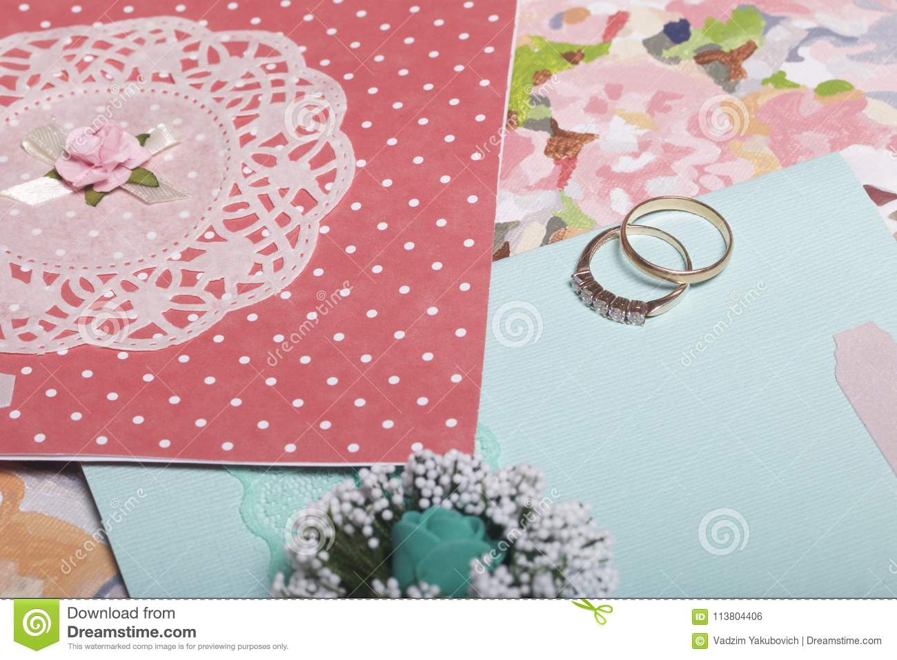 Wedding decor invitation cards and wedding rings lie on the canvas invitation cards and wedding rings lie on the canvas stock photo stopboris Image collections
