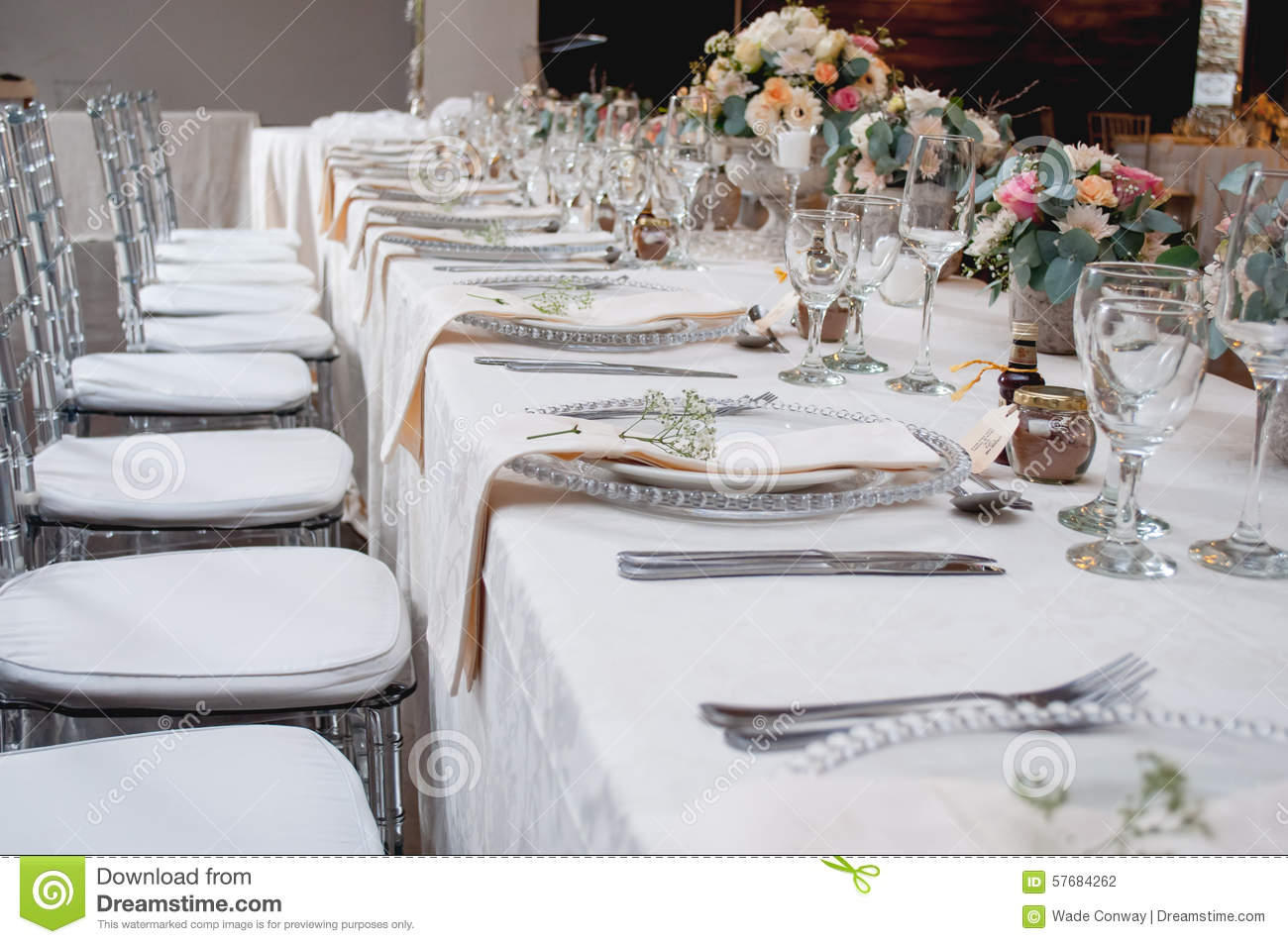 Wedding Decor At Main Table Stock Photo Image Of White Silver