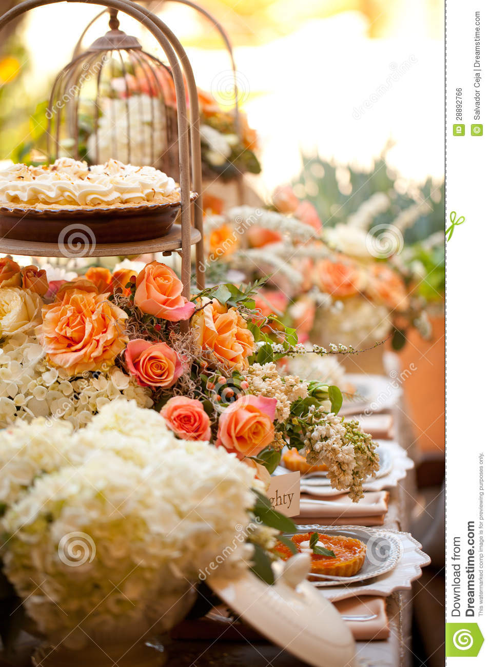Wedding Decor Table Setting And Flowers Stock Photo