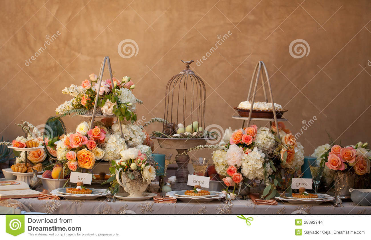 Wedding Decor Table Setting And Flowers Stock Photo 28892944   Megapixl