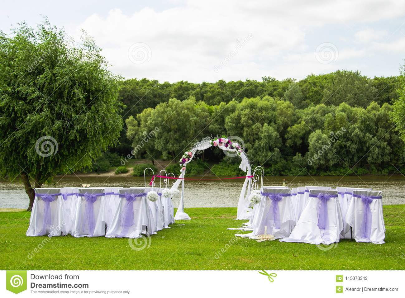 Wedding Decor In White And Purple Colors Stock Image Image Of