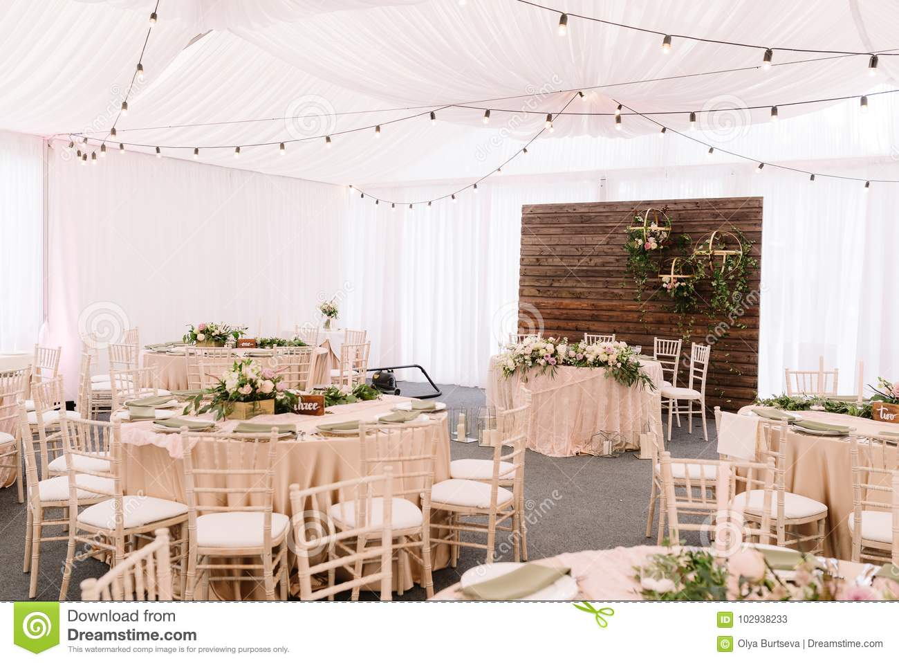 Wedding Decorated Restaurant In Light Colors And Rustic Style Stock Image Image Of Glass Nature 102938233