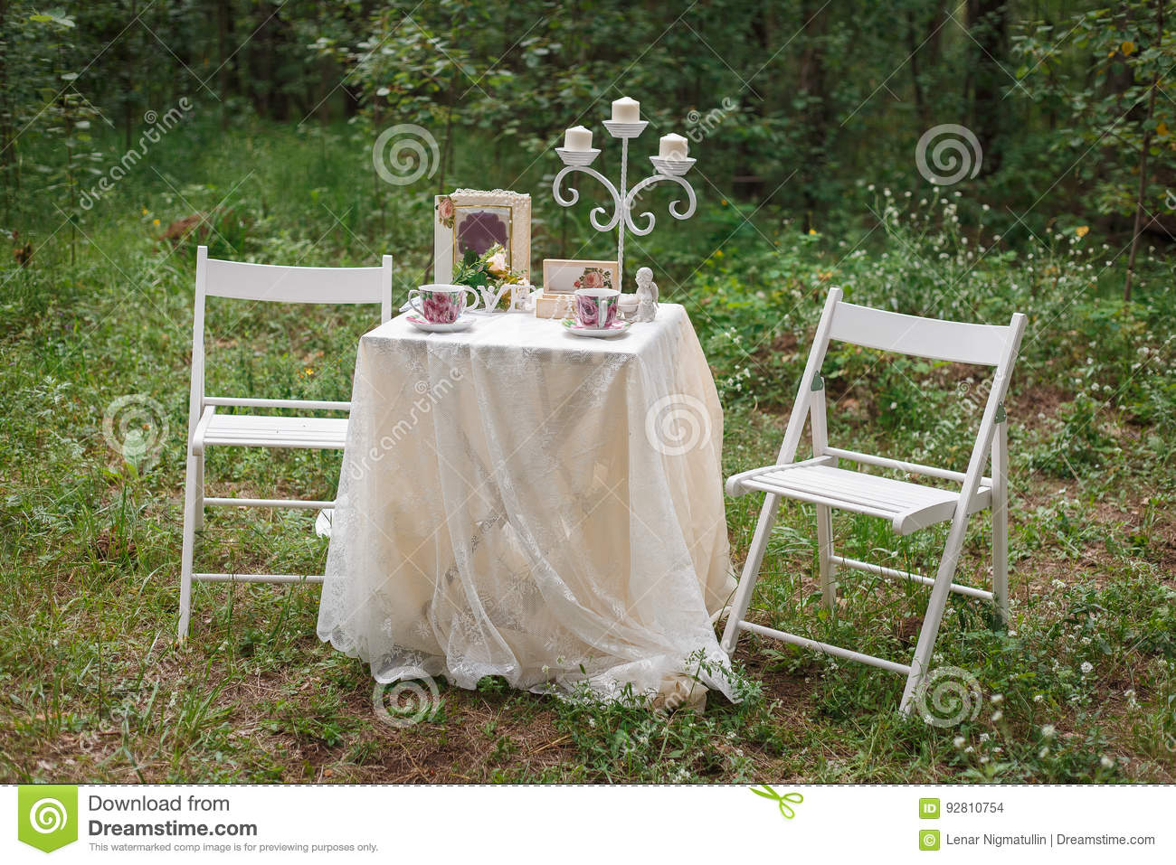 romantic date in the woods