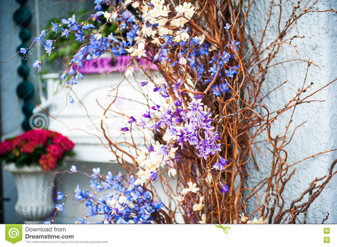 Wedding Decoration Of Blue And Purple Flowers On A Light Turquoise
