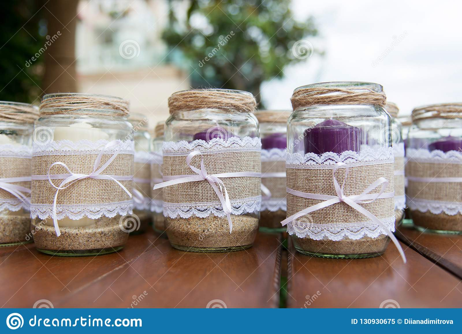 Wedding Decoration Candles In Glass Jars Decorated With