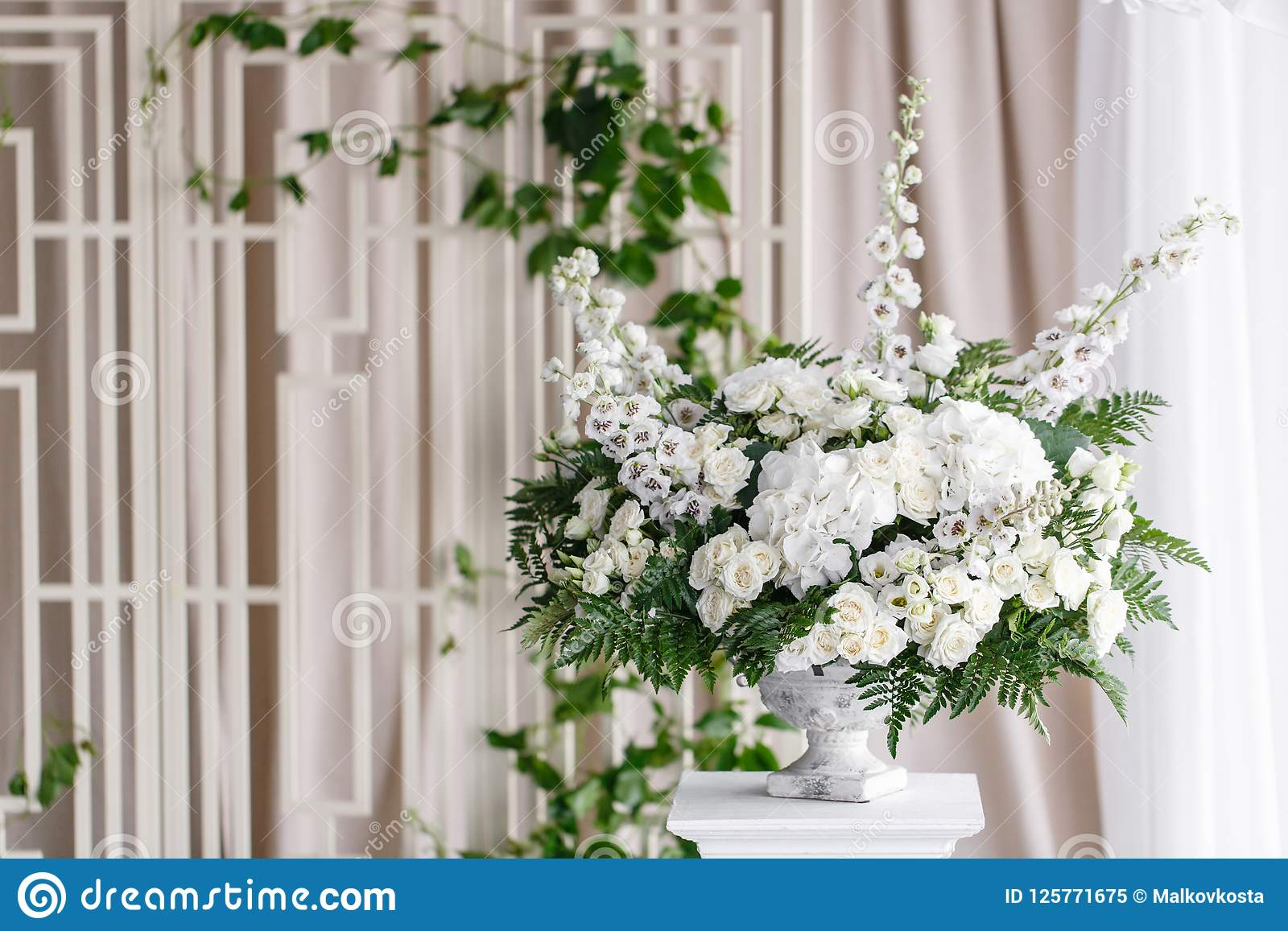 Wedding Decoration Ceremony In A Light Tent Gorgeous Bouquet Of
