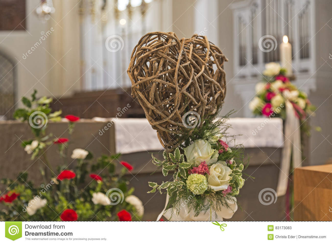 Loral flower decorations at a church wedding & Wedding Decoration In The Church Stock Image - Image of heart bound ...