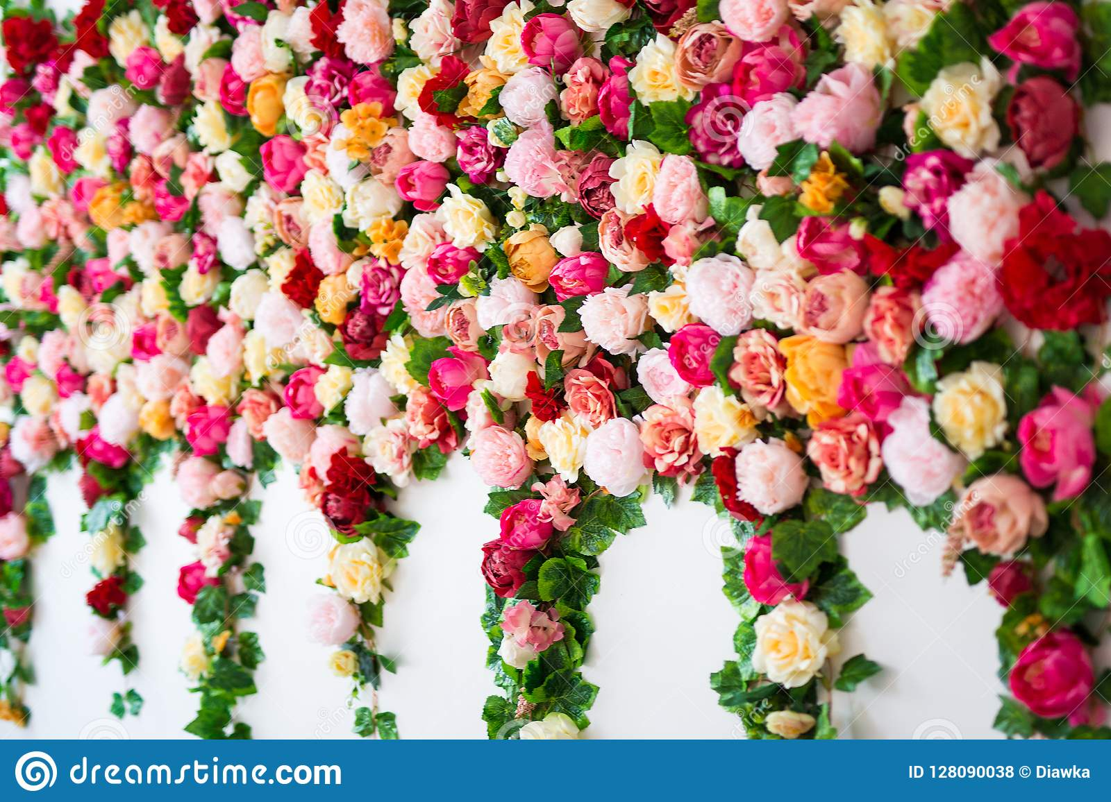Wedding Decoration Flowers Wall Background With Colorful Roses Stock Photo Image Of Birthday Leaf 128090038