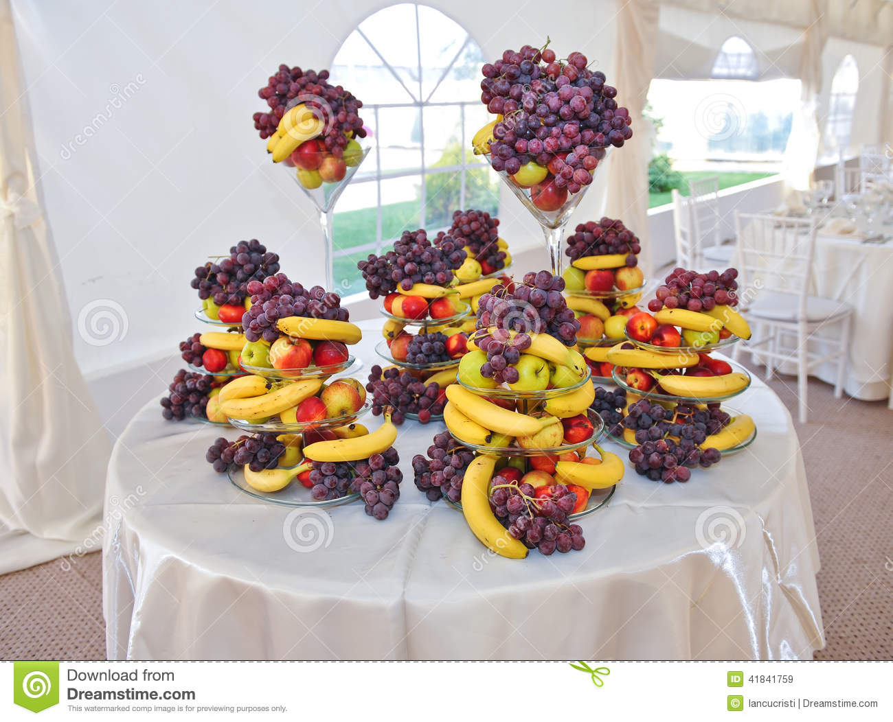 Wedding Decoration With Fruits Bananas Grapes And Apples