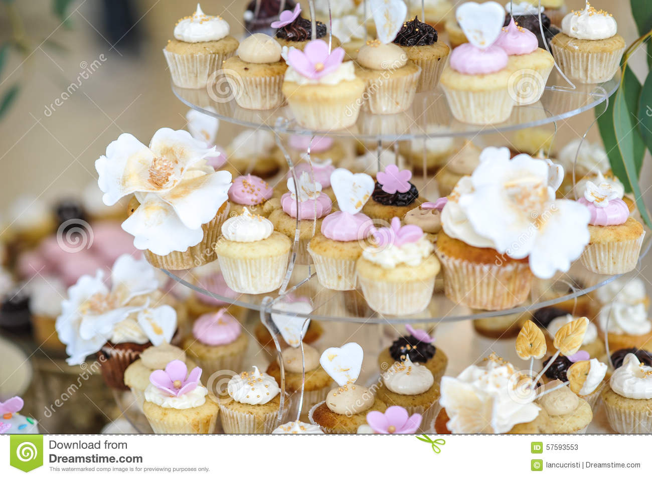 Wedding Decoration With Pastel Colored Cupcakes Meringues