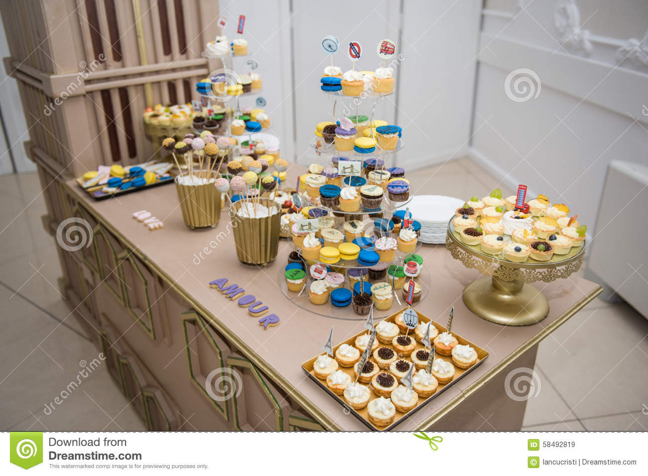 Wedding Decoration With Pastel Colored Cupcakes Stock Image Image