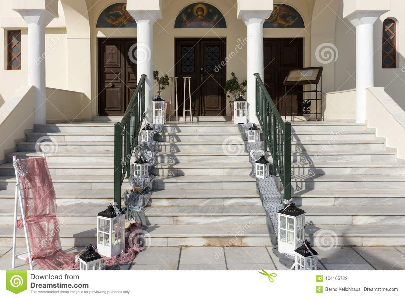 Wedding decoration on the stairs to the church stock photo image download wedding decoration on the stairs to the church stock photo image of elegance junglespirit Image collections