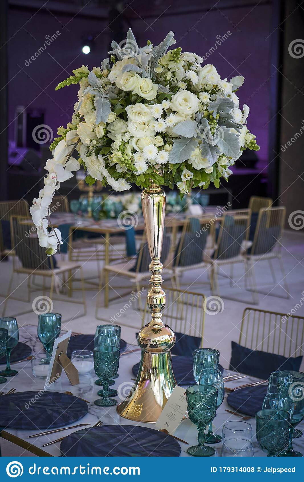 Wedding Decoration On Table Floral Arrangements And Decoration Arrangement Of Pink And White Flowers In Restaurant For Event Stock Photo Image Of Small Light 179314008
