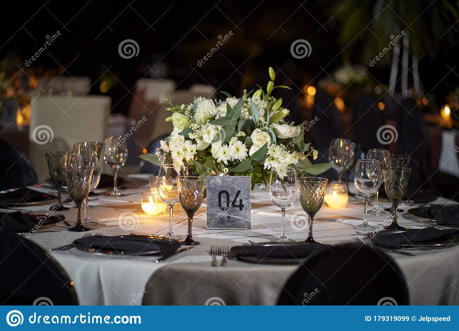 Wedding Decoration On Table Floral Arrangements And Decoration Arrangement Of White Flowers In Restaurant For Event Stock Image Image Of Light Bouquet 179319099