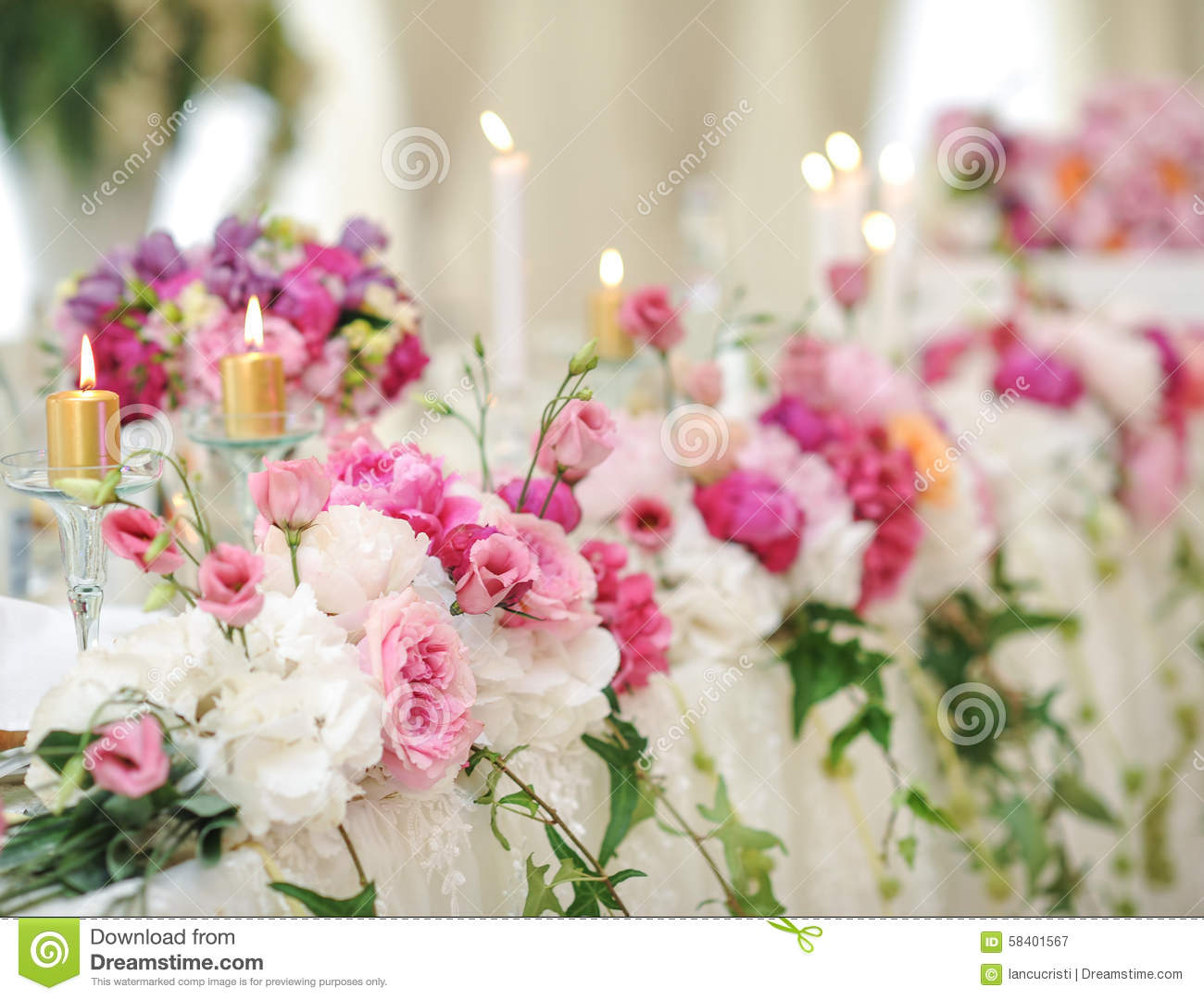 Wedding decoration on table floral arrangements and decoration wedding decoration on table floral arrangements and decoration arrangement of pink and white flowers in restaurant for event stock image image of junglespirit Choice Image