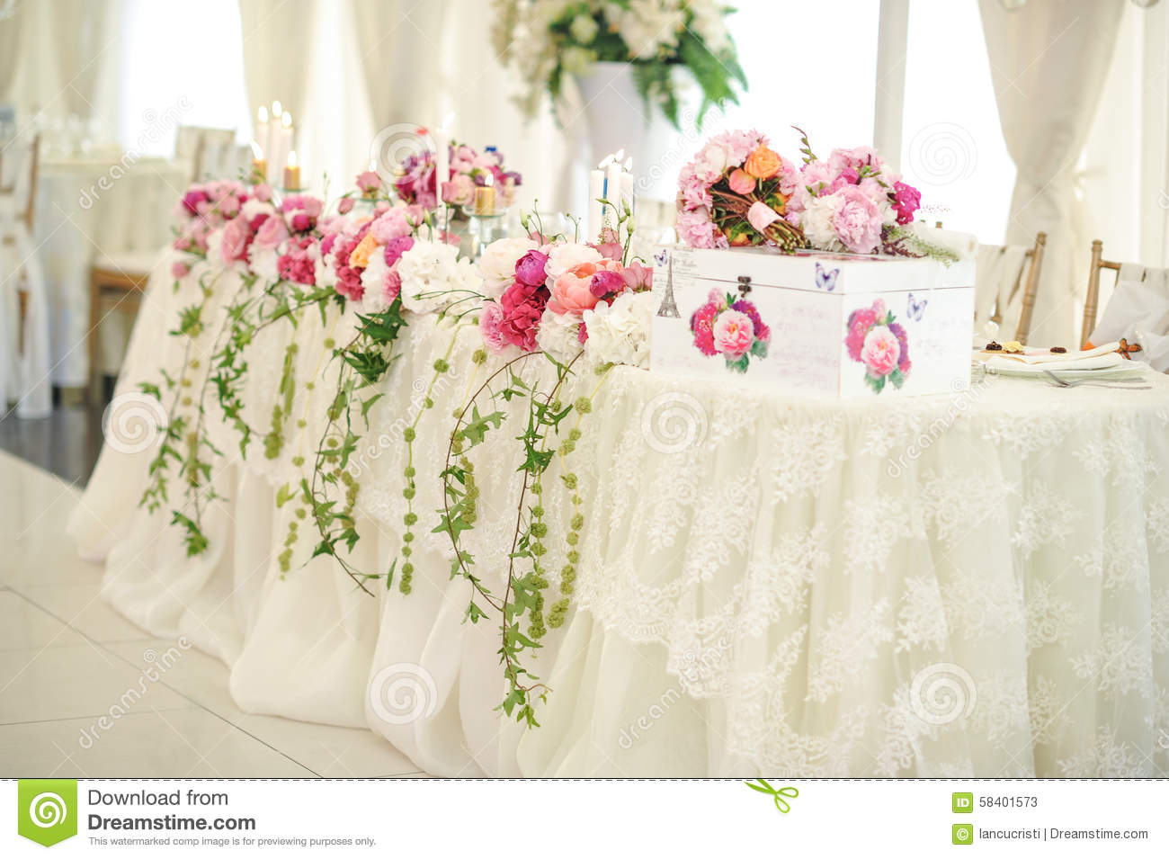 Wedding Decoration On Table Floral Arrangements And Decoration Arrangement Of Pink And White