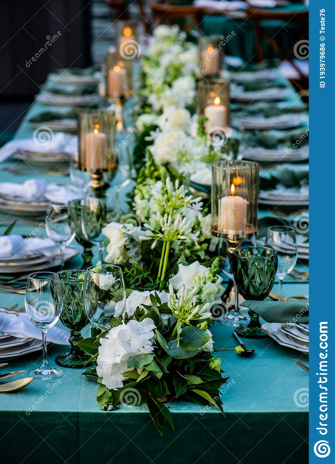 Flowers Candles Wedding Decoration Floral Arrangements Stock Photo Image Of Colored Banner 193979686