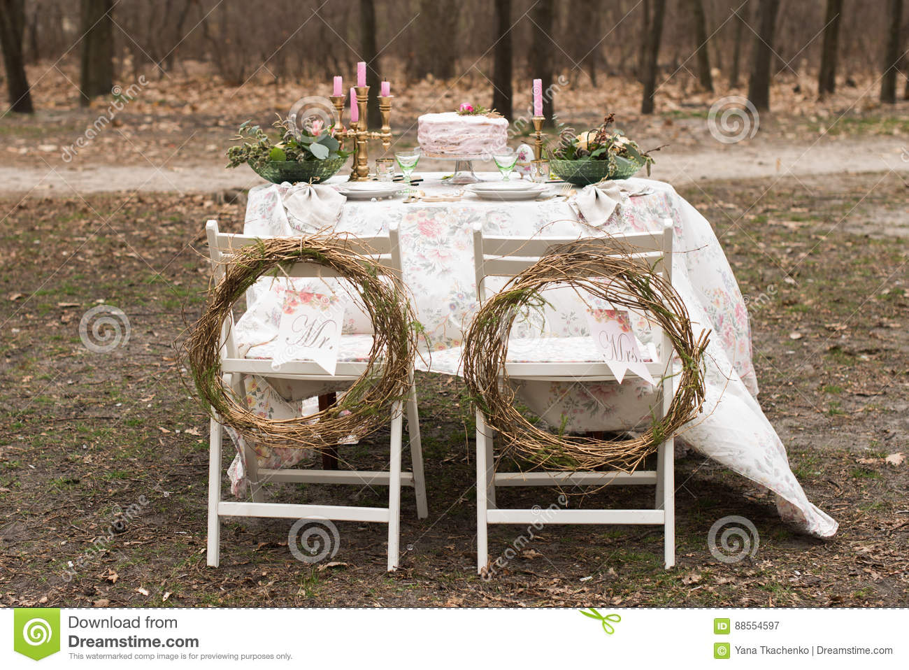 Wedding decoration table in the garden floral arrangement in the download comp junglespirit Image collections