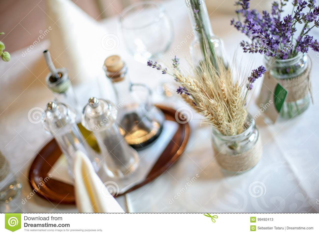 Wedding Decoration Table With Lavender And Greenery Stock Image