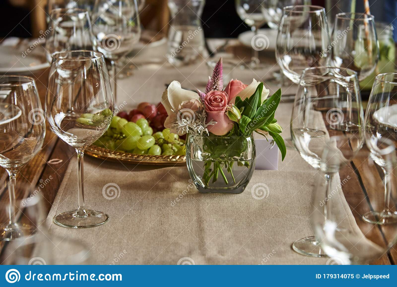 Small Table Flower Yellow Luxury Decoration With Glass Globets Wedding Event Party At Night Coctel Table With Candles Stock Image Image Of Beauty Card 179314075