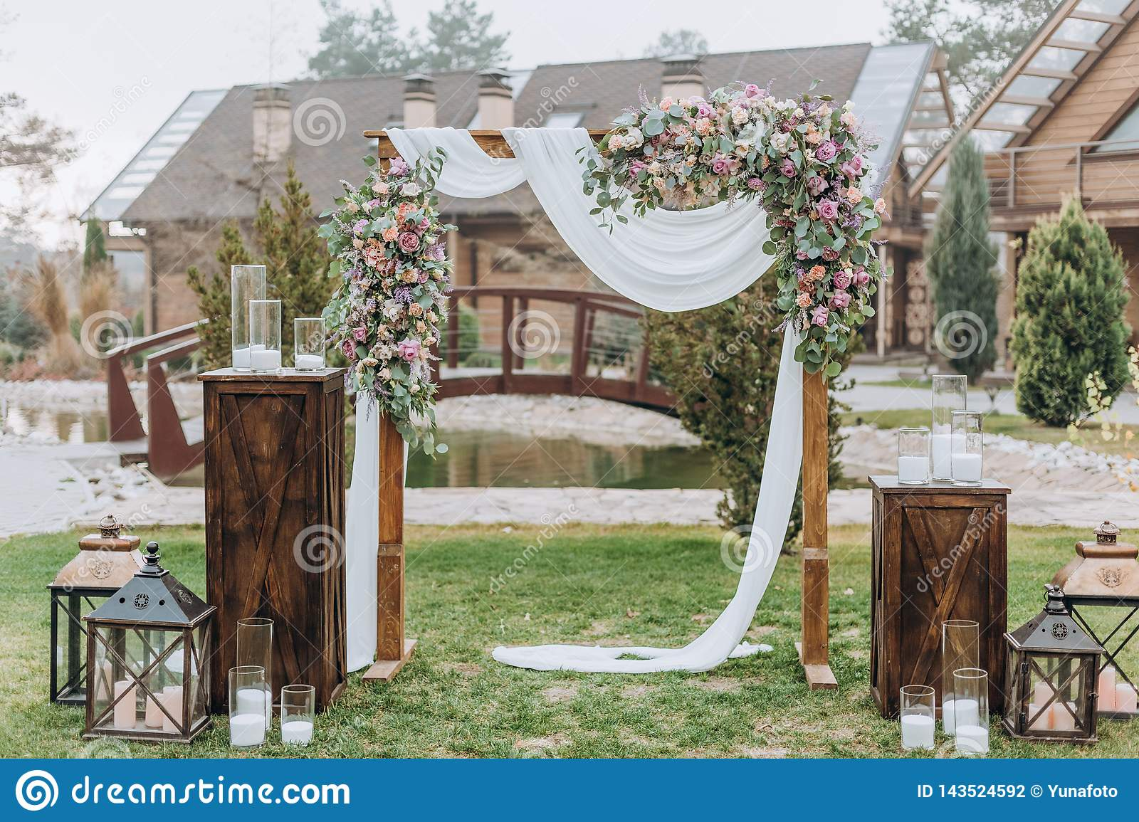 Wedding Decorations Arch Outside Summer Decor Fabric Stock Photo