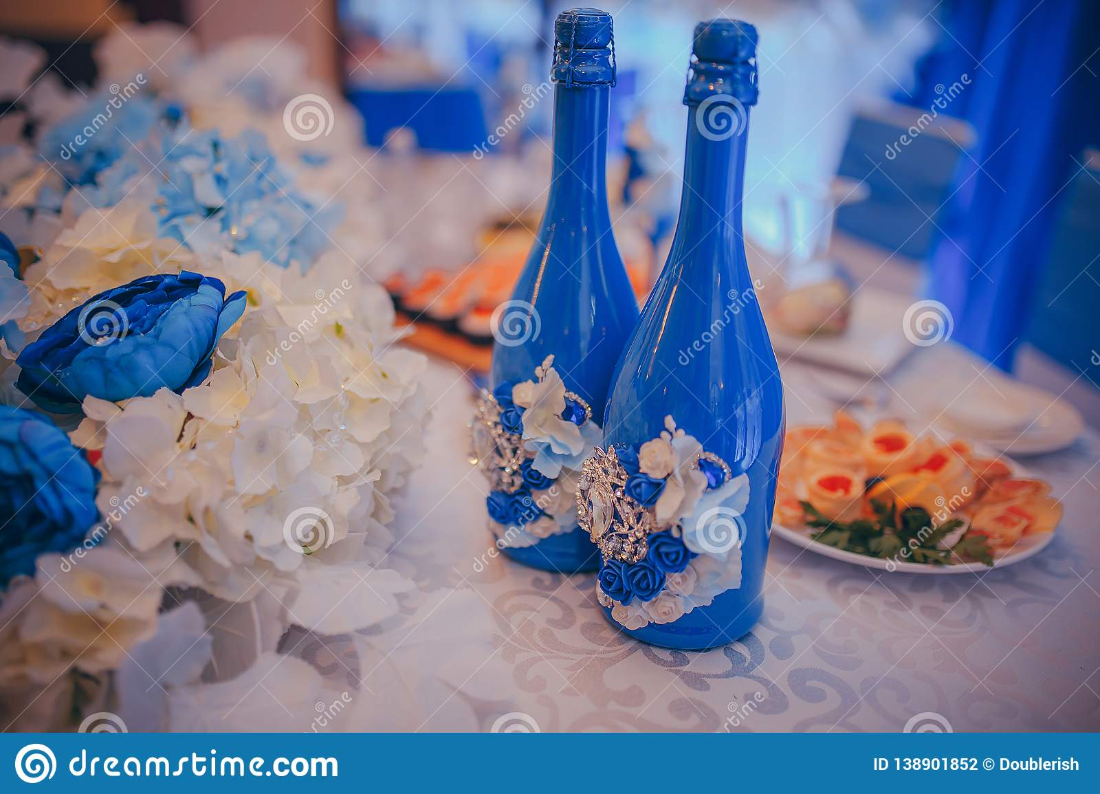 Wedding Decorations Blue Champagne Bottles Stock Photo - Image of groom,  setting: 138901852