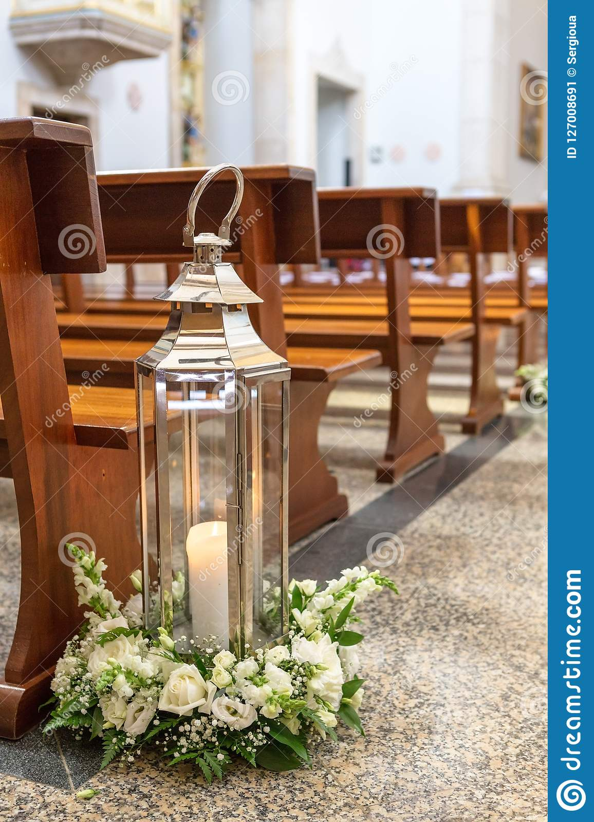 Wedding Decorations In The Church Before The Ceremony Stock