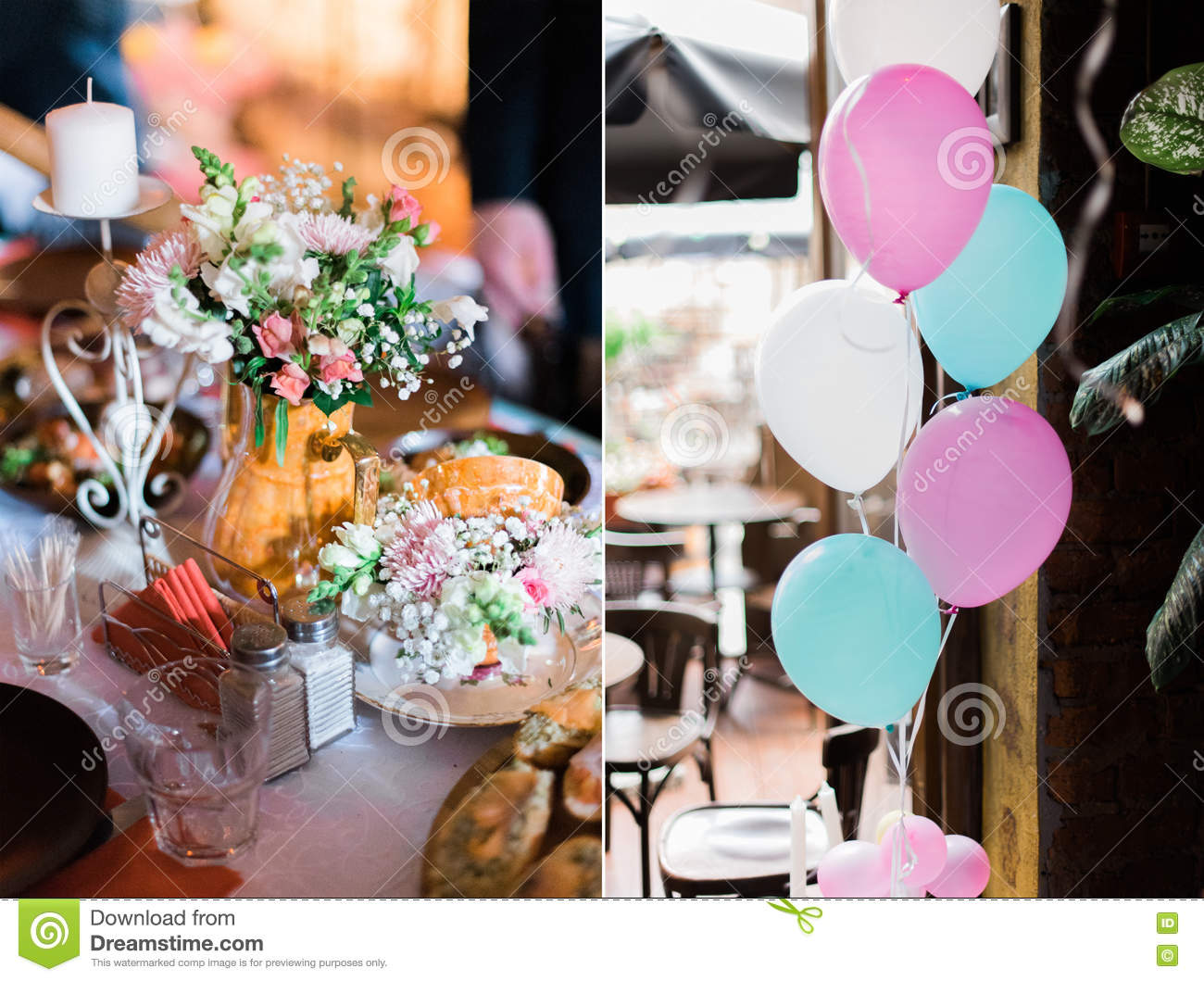 Wedding Decorations Collage With Balloons Sweets And Candles In