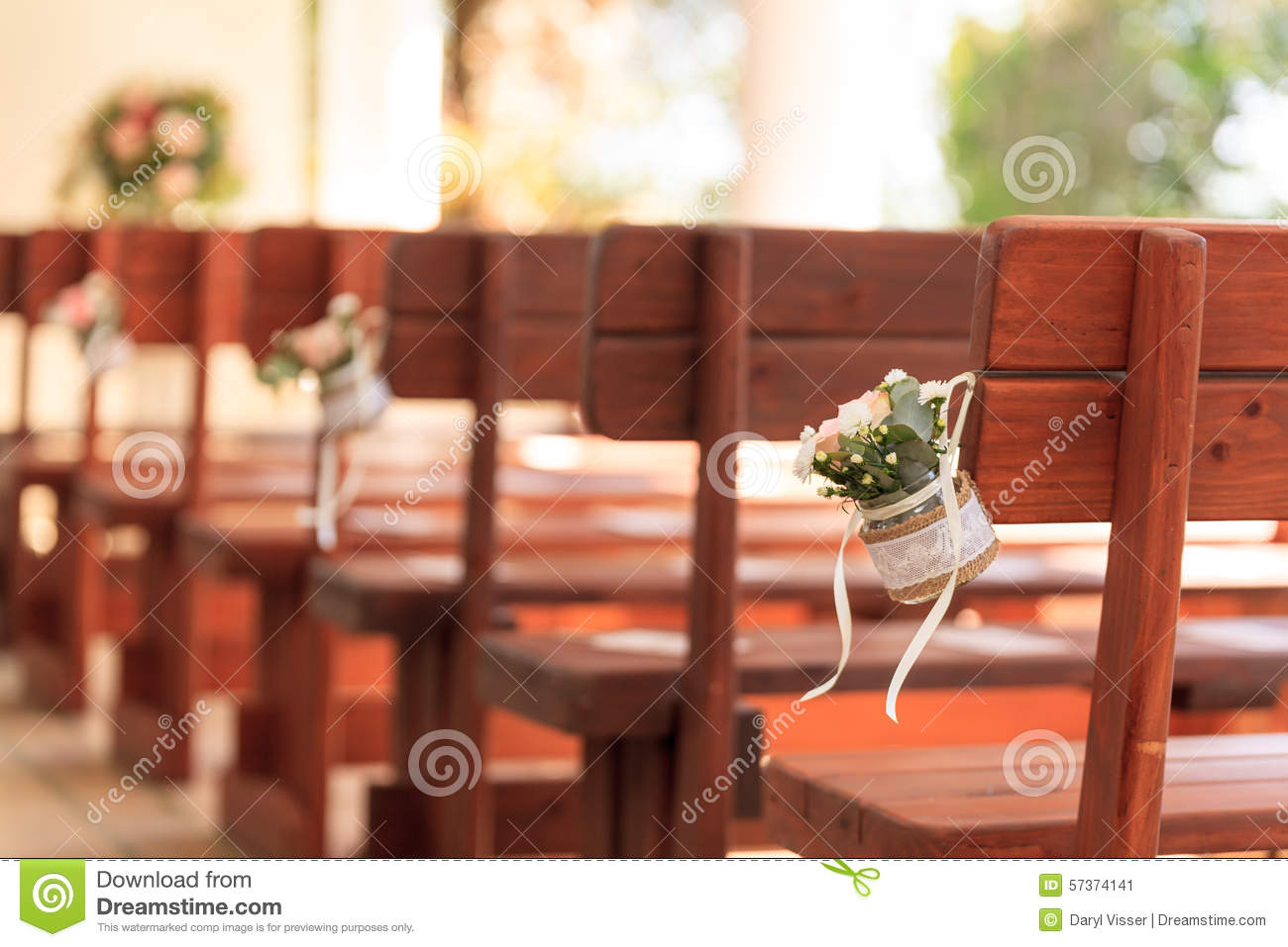Wedding decorations love church stock image image of chairs download comp junglespirit Images