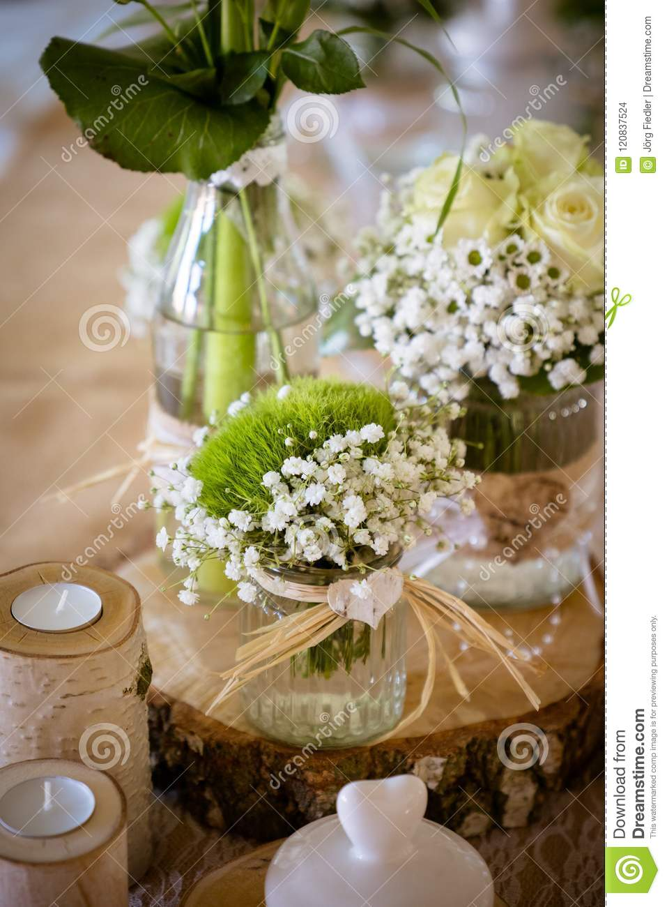 Wedding Decorations For Table In Rustic Style Wooden Desk Stock