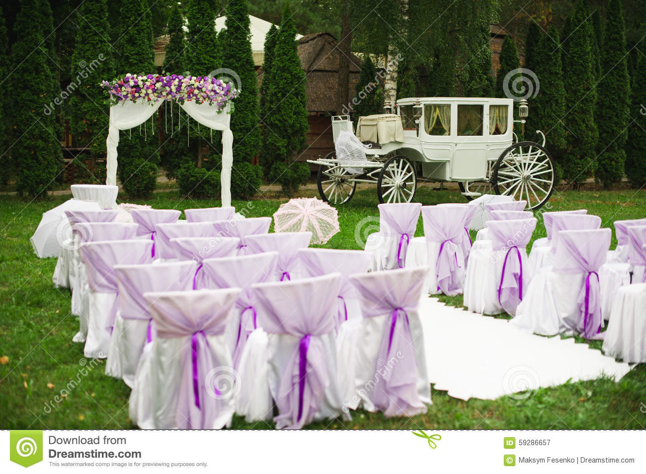 Wedding Decorations In White And Purple